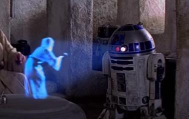 R2-D2が映すレイア姫の3Dホログラフィック